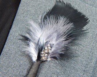 Feather Boutonniere with Bling! Accented with real rhinestones
