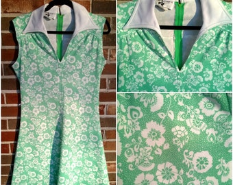 Adorable Lime Green and White Sleeveless Floral Peter Pan Collar Dress M/L