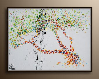 """Tree oil painting , 40"""" - Beautiful & Colorful Abstract Tree , Original Oil Painting , Calming colors, By Koby Feldmos"""