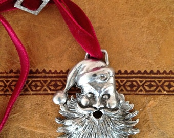Elias Fine Silver Pewter Santa Christmas Ornament Velvet Book Mark with Father Christmas
