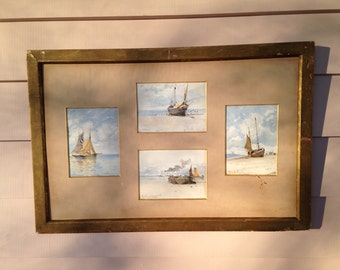 Seashore - Sailboats - Photographs - DeMartino - Set of 4 1882