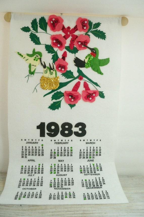 Vintage 1983 Wall Calendar - Hummingbirds - Red Flowers - Hanging Calendar - Felt with Green Sequins - Handmade - Assembled from Kit