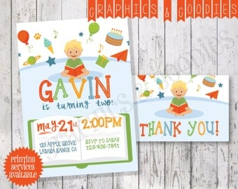 Bookworm Birthday Party w/ Matching Thank You Note!