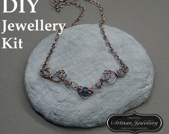 Wire wrapped jewellery tutorial ~ Tutorial ~ Wire wrap jewelry kit ~ Necklace making kit ~ Supplies for wire wrapping ~ Wire wrap kit ~