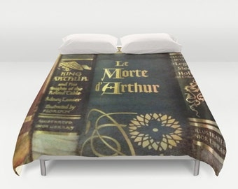 Adventure Library Comforter or Duvet Cover: Bedding, books, boy's room, King Arthur, dark, medieval, home decor,