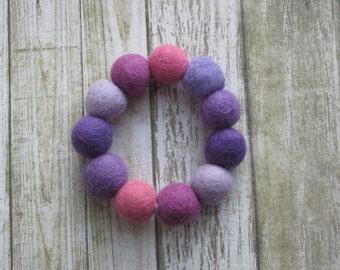 Handmade felt ball bracelet, bangle, Purple