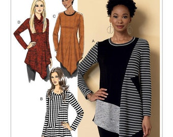 Butterick Sewing Pattern B6377 Misses' Seamed Tunics with Asymmetrical Hems