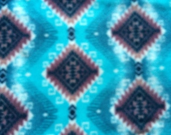 Remnant - Native American Blue Fleece Fabric 28in