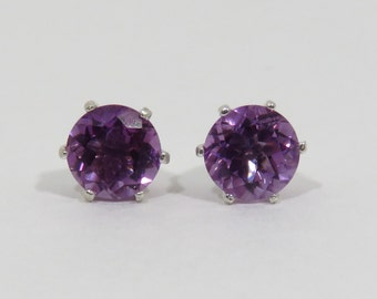 African Amethyst Studs, Genuine Amethyst Stud Earrings, Sterling Silver, 6 mm,  Purple Stone Studs, February Birthstone