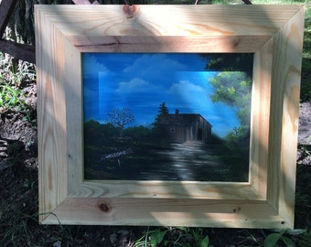 oil painting, cabin sign says welcome