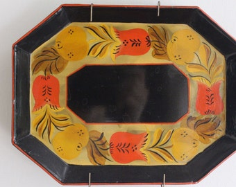 Vintage Hand Painted Black Tole Tray, Toleware