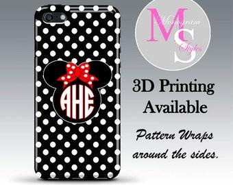 Minnie Inspired Monogram iPhone 6 Plus Case Personalized Phone Case Monogrammed iPhone 6 6S Case, Iphone 4 4S, iPhone 5 5S, iPhone 5C #2714