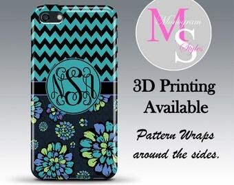 Monogram iPhone 6 Case Personalized Phone Case 'Indigo Pop' Monogrammed iPhone 6 Plus Iphone 4, 4S, iPhone 5S, iPhone 5C Tough Case #2618