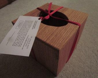 Oak tissue box holder