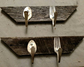 Wall hooks made of upcycled vintage fork & spoon on old barn wood