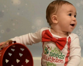 Who needs mistletoe baby boy onesie, Baby boy Christmas outfit My first Christmas Baby Boy Christmas onesie with matching bow tie suspenders
