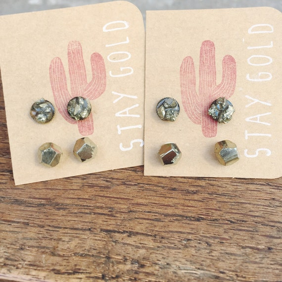 Pyrite Stud Earring Set