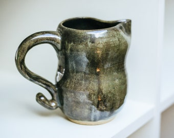 Handmade Ceramic Pitcher - Green/Brown Mirrored Finish