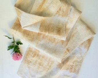 Felted scarf Fall felt scarf Ivory Felt scarves Nunofelted scarf Merino wool scarf Winter scarf Long scarf Ecofriendly scarf Gift for her