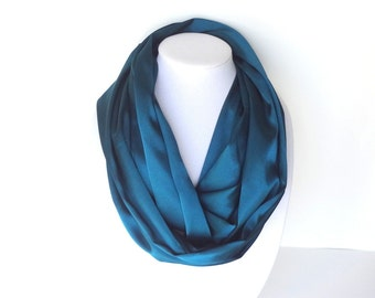 Teal scarf, infinity scarf, fall scarf, Mother's Day Gift, teal satin scarf