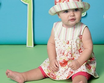 McCall's Pattern M7342 Infants' Back-Bow Dresses, Panties, Leggings and Bucket Hat