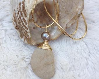 beach pebble necklace, beach boho, pearl, gift for her, white topaz, wedding, bridal, beach wedding, gray necklace, diamond, organic
