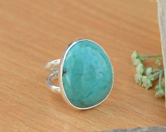 Tibetan Turquoise Ring, Turquoise Gemstone Ring, 925 Sterling Silver Ring, Fancy Green Ring Size 8, Turquoise Gemstone Ring