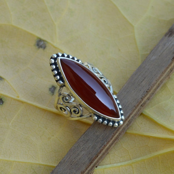 Sterling Silver Statement Ring, marquise Red Onyx Ring, Onyx Ring, Red Ring,Bezel Set Ring,Birthstone Ring, Red Ring,Silver Ring Size 7