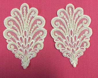 One Pair of Vintage Beaded Appliqués. Pearl Beaded Appliqué, White.