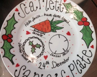 Dear Santa & Rudolph Personalized Christmas Eve Treat Plate