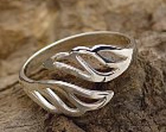 Adjustable Sterling Silver Wing Ring
