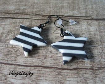 """earrings """"Star - black & white"""""""