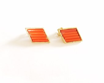 Vintage Diamond Shaped Clip On Earrings--Red-Orange on Gold tone Setting