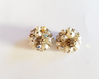 Vintage Gold, White and Opalescent Cluster Clip On Earrings