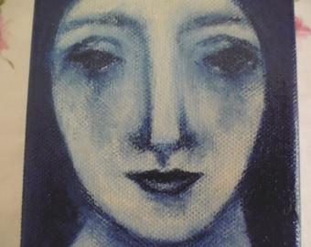 Original Folk Art Painting, outsider art, primitive art, figurative, lady, blue.