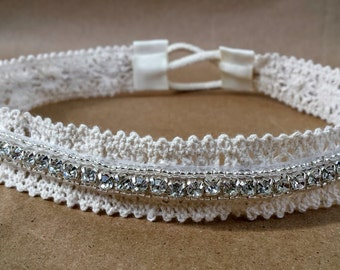 Lace and Rhinestone Rustic Bridal Headband; Cream Bridal Tie Back Headpiece with Rhinestone; Boho Bridal Headband; Rehearsal Dinner Headband