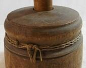 "Antique Wood Butter Mold Press Kitchen Equip Leaf Wheat Design 4 3/4"" x 5 5/8"""
