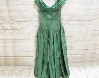 Vintage Green Taffeta Formal Gown Dress Bow 1950's Style Women's Handmade