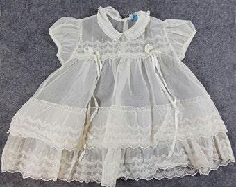 Vintage Baby Girl Christening Gown Dress Organza Chiffon Baptism Sheer Infant