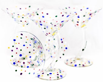 Martini Glasses - 12 oz - Each, Set of 2 or 4 - Multiple Colors - Confetti Design - Hand Painted