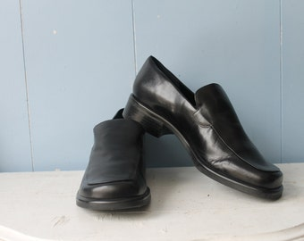 Vintage Black Leather Loafers/90s/Franco Sarto/Made in Italy