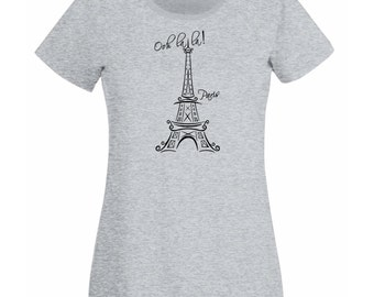 "Womens T-Shirt with Eiffel Tower Quote ""Ooh La La Paris"" Design / France Sightseeing Art Tee Shirt + Free Random Decal Gift"