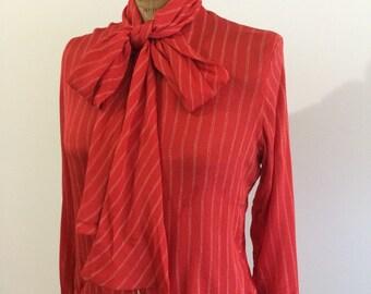 "Valentino vintage ""Boutique Valentino"" 100 % Silk Womens Tie Neck Blouse"