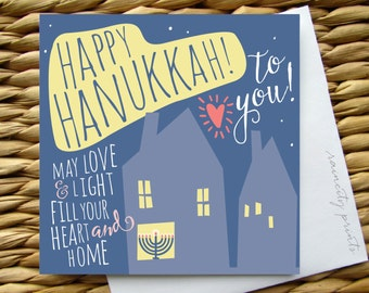 Happy Hanukkah Card, Chanukah Card, May Love and light fill your heart and home, holiday boxed card, illustrated greeting card, menorah card