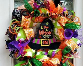 The Witch is In Halloween Wreath~Halloween Door Wreath~ Front Door Wreath~ Deco Mesh Wreath~Halloween Decor~ Halloween Decoration