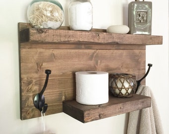 Rustic bathroom towel rack, rustic shelf, farmhouse decor, bathroom shelf with hooks, bathroom storage, floating shelf