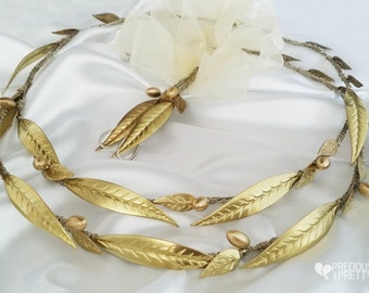 Stefana Greek Crowns Ancient Style Olive Leaves Gold Color /Tiaras/Stephana