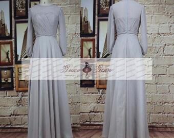 Long Sleeve Grey Bridesmaid Dresses,Modest Bridesmaid Dress,Illusion High Neck Evening Gowns,Elegant A Line Chiffon Gray Wedding Party Dress