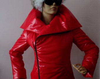 Red Warm winter coat,Womens wrap down coat/ Womens winter jacket/ Puffer atmosphere down overcoat / Quilted down coat