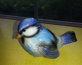 Vintage 1970s West Germany Goebel Porcelain Blue Jay Bird Figurine